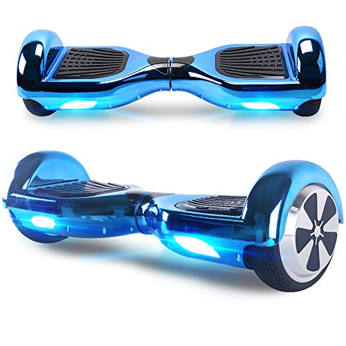 Windgoo Hoverboard, 6.5 Zoll Self Balance Scooter mit Starker Dual Motor - LED Lights Elektro Scooter, Self Balancing Scooter für Kinder (Chromblau)