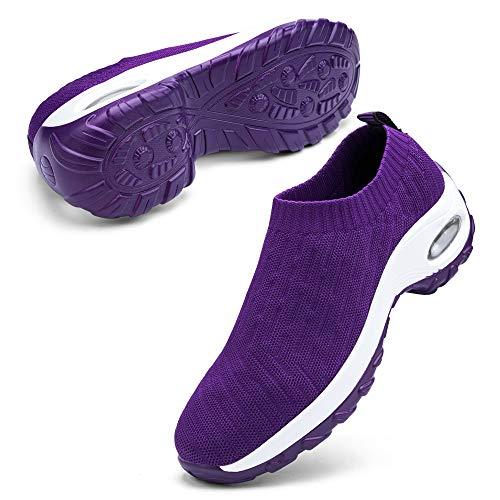 Aokelato Womens Walking Shoes Slip on Mesh Air Cushion Comfort Wedge Platform Loafers Fashion Casual
