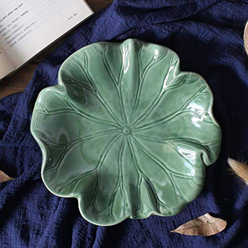 WANBAO Beautiful Household Storage Bowls Fruit Bowl, Painted Lotus Antique Snack Plate, Tea Table Decoration Bowl, Green, 24 5CM (Color : Green, Size : 245CM)