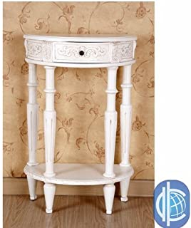 International Caravan Furniture Piece Carved Small 1/2 Moon 2-Tier Wall Table