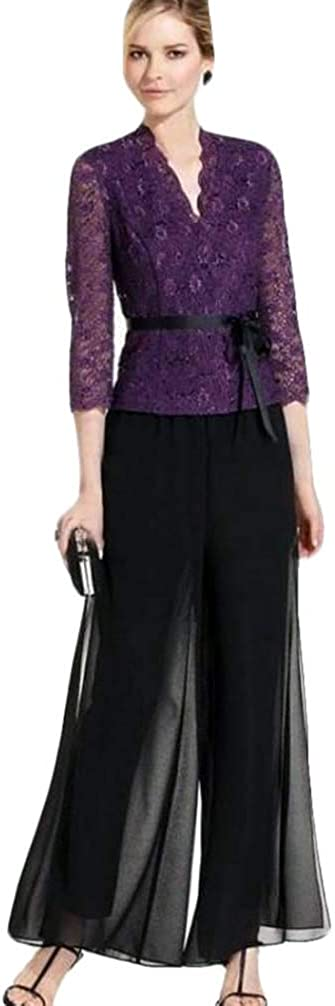 Xixi House 2021 Two Pieces Mother of The Bride Pant Suits Lace Coat Black Chiffon Pant Formal Wedding Guest Dress with Sash