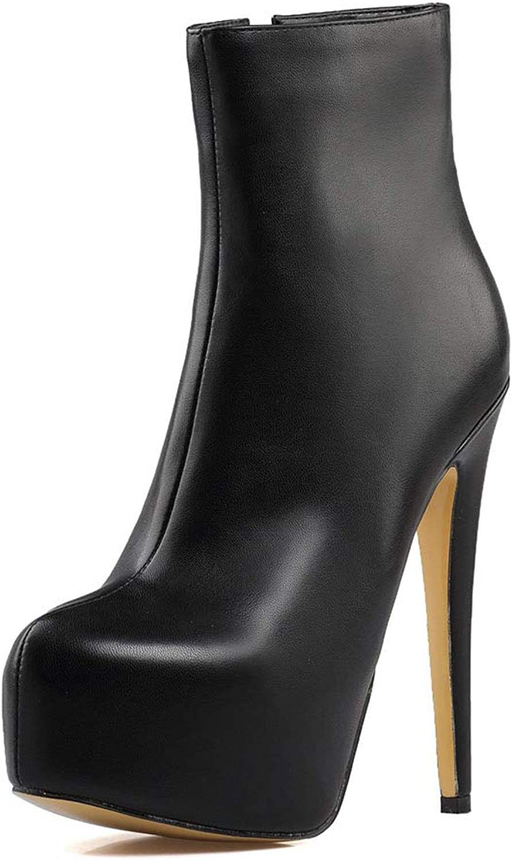Damen Ankle Stiefel Reiverschluss Mit Stckelabsatz Kurz Stiefel,MWOOOK-223 Herbst Winter Outdoor Stiefel High Heels Schuhe