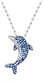 Dolphin Necklace 925 Sterling Silver Chain Blue Crystals Pendant Necklace Gift Jewelry for Her