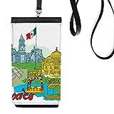 DIYthinker México Bandera Cultura Famoso Lugares turísticos Pintada de Cuero de imitación Smartphone Colgando el Monedero del Regalo Monedero Negro teléfono