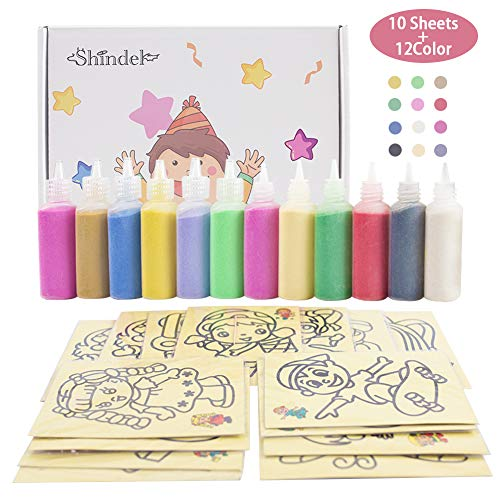 3 otters Sand Art kit , Colored Sand Art Kit Art Sand Scenic Sand with 10 Sheets Sand Art Painting Cards Set Children Art Toy, 12 Color (0.92 LB)