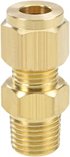 uxcell Brass Compression Tube Fitting 8mm OD 1/4 NPT Male Thread Pipe Adapter for Water Garden Irrigation System