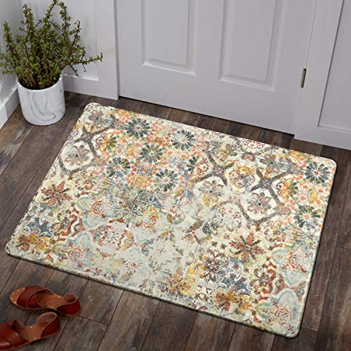 Lahome Floral Medallion Collection Area Rug - 2' X 3' Non-Slip Distressed Bohemian Vintage Traditional Area Rug Small Accent Throw Rugs Floor Carpet for Door Mat Entryway Decor (2' X 3', Multicolor)