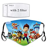 Paw Patrol Face Mask with Filter Pocket Washable Face Bandanas Balaclava Reusable Fabric Masks for Men Women