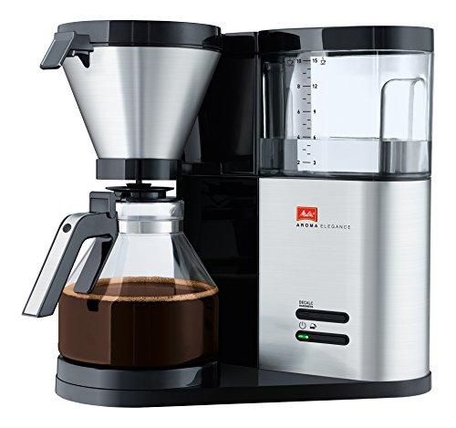 Melitta AromaElegance 1012-01, Filterkaffeemaschine mit Glaskanne, Aroma Control, Schwarz/Edelstahl Filter-Kaffeemaschine, 1.2 liters