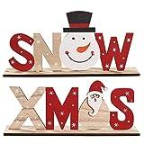 Yardwe 2ピース木製クリスマスオーナメントDIY組み立て木製パズルサンタ雪だるまクリスマス装飾クリスマスホリデーギフトグッディバッグフィラー