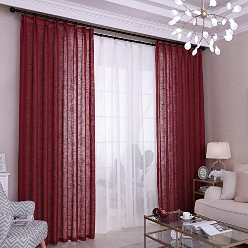 yug Cortina Elegante Vino Rojo Salón Dormitorio Balcón Partición Gasa Cortina Medio Sombreado Absorción De Humedad Transpirable Color Sólido Moderno