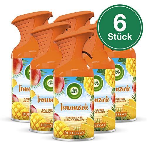 Preisvergleich Produktbild Air Wick Traumziele Karibischer Mangotraum Fruchtig-süßes Duftspray ohne feuchten Niederschlag Duft: Mango 6 x 250 ml