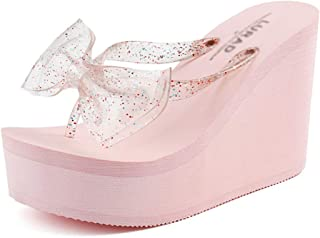 Non-Slip Flip Flop, Summer Open-Toe Sandals, Ladies Wedge Comfort Havaiana, Beach Shoes, Butterfly Laces (Pink)