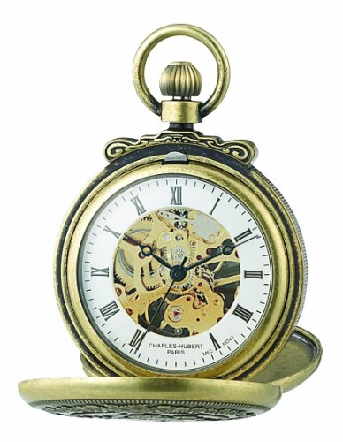 Big Sale Charles-Hubert, Paris 3868-G Classic Collection Gold-Plated Antiqued Finish Double Hunter Case Mechanical Pocket Watch
