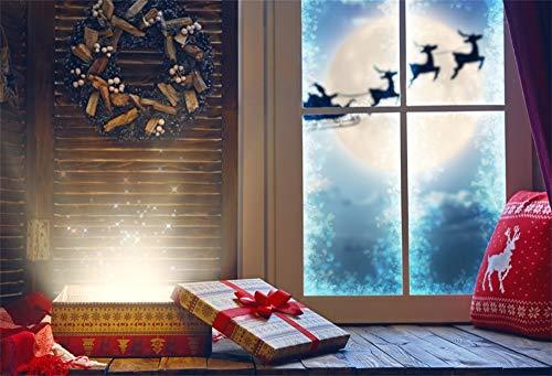 YongFoto 1,5 x 1 m foto achtergrond Kerstmis vensterluiken Garland Magische geschenkdoos op de drempel Kerstman in slee getrokken van rendieren fotografie achtergrond baby kinderen fotostudio