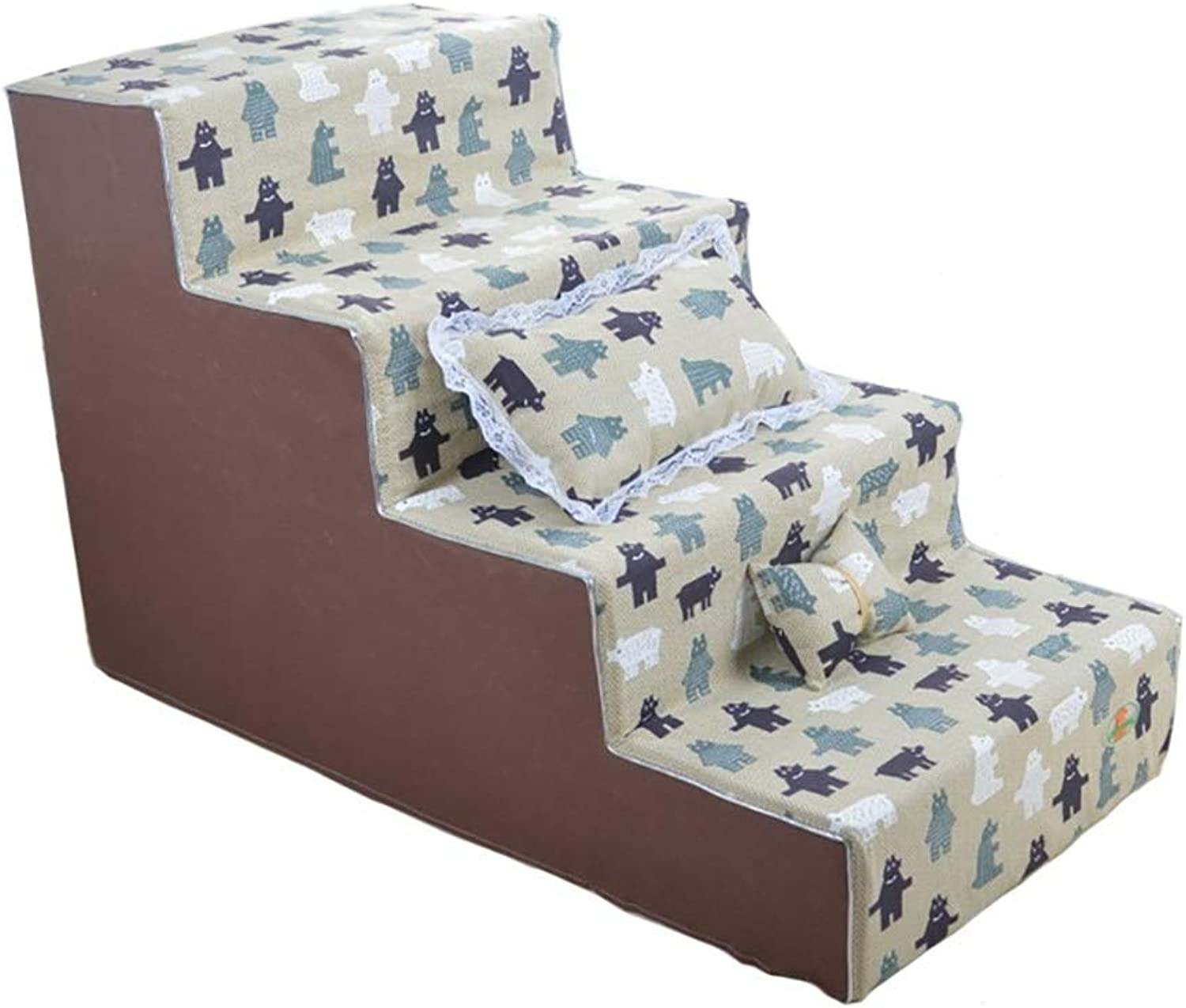 Pet Stairs 4 Steps, Green Dog Stairs for Living Room Tall Sofa, Removable and Washable Covers (Size   40×80×40cm)