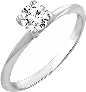 Dazzlingrock Collection 0.26 Carat (ctw) 14K Gold Round Diamond Solitaire Promise Engagement Ring 1/4 CT