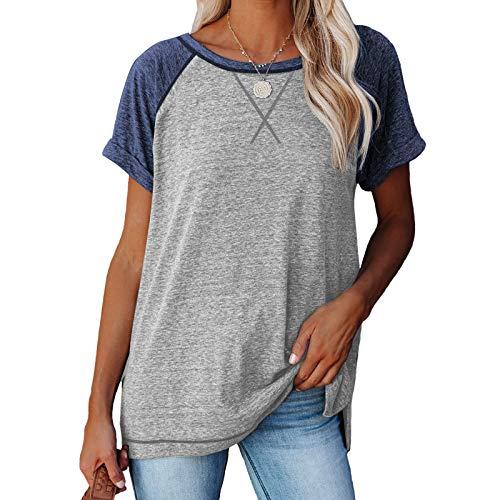 MoneRffi Damen Kurzarm T-Shirt Rundhals Ausschnitt Lose Hemd Sweatshirt Pullover Sommer Casual Tunika Tops Bluse(B#Hellgrau,S)