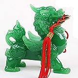LJXLXY Feng Shui Dekoration Feng Shui Grün Pi Yao/Pi Xiu Reichtum Porsperity Statue + 5 Lucky Charms Antike Münzen Feng Shui Dekoration auf rotes Seil Home Tisch Büro Feng Shui (Color : Females)