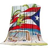 Palm Tree Puerto Rico Flag Frog Beach Patrón Manta de Franela Plaid Suave Acogedora Mullida Cálida Mantas de Lujo la 100% Microfibra para Modernas Colcha Sofa Manta -130x150cm