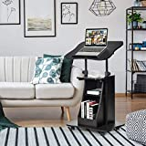 Salches Rolling Laptop Table Cart w/Adjustable Height & Tiltable Desktop, Wooden Computer Table on Wheels w/Open Storage, Sit-to-Stand Laptop Desk w/Swivel Wheels, Ideal for Home, Office, Studio