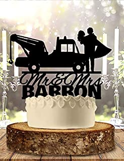 Tow Truck Personalized Wedding Cake Topper