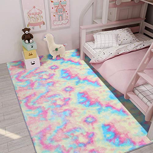 Maxsoft Furry Kids Rainbow Rugs, Colorful Area Rug for Girls Bedroom, Nursery, Play Room, Fuzzy Carpet for Living Room, Home Decor (4x6 Feet)