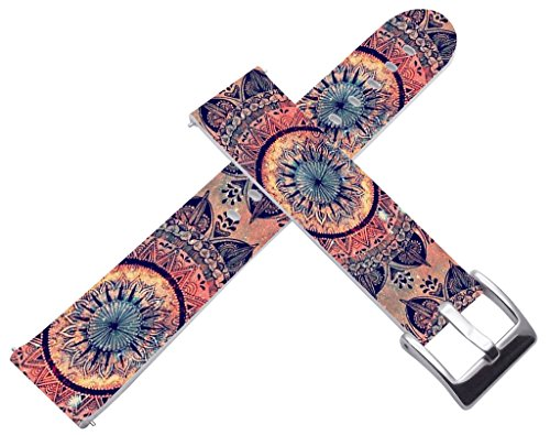 18mm Watch Bands Straps Leather Quick Release Compatible with Withings Activité/Activitie Pop/Steel/Steel HR for LG Watch Stylefor Huawei Watch Wonderful Girly Floral Art