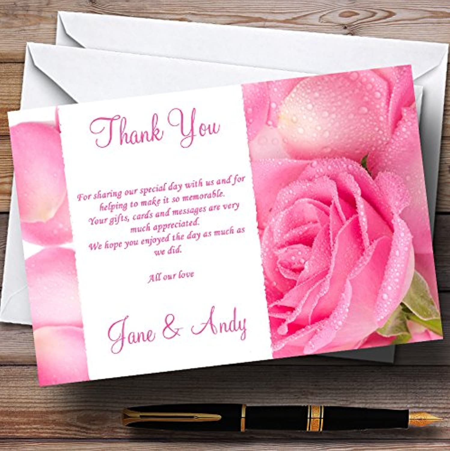 Pink pink Petals Personalised Wedding Stationery Thank You Cards