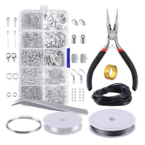 kowaku 900Pcs Kits de Fabricación de Joyas DIY Pulsera Principiantes Anillo de Salto Herramientas Accesorios