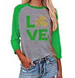 Love Clover Shirt Women Funny St Patricks Day Raglan Shirt Glitter Sequins Shamrock Clover Graphic Tops Novelty St Pattys Day Shirts for Women(M, Gray)