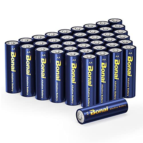 Bonai Batterie Industrial Alcaline AA 1.5 Volt, Pile Monouso Stilo AA Lunga Durata Performance per Giocattoli, Torce, Controller e Altri Dispositivi a Batteria Confezione da 40