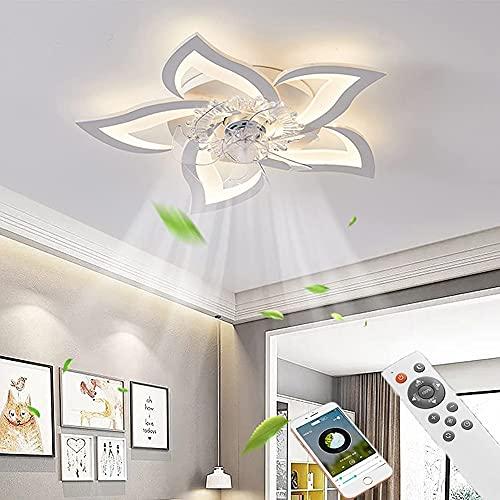 Leise Deckenventilator mit Beleuchtung LED Fan Deckenleuchte Dimmbar Fan Licht, Modern Kreativität Schlafzimmer Ventilator Deckenlampe mit Fernbedienung und APP für Schlafzimmer Wohnzimmer 3-Gang