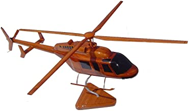 Bell 407 Mahogany Wood Desktop Helicopter Model