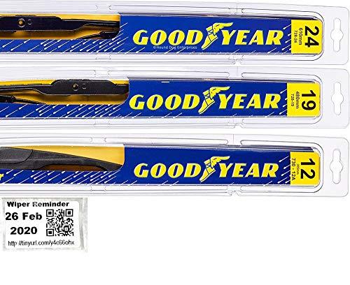 Windshield Wiper Blade Set/Kit/Bundle for 2009-2019 Dodge Journey - Driver, Passenger Blade & Rear Blade & Reminder Sticker (Premium with Goodyear Rear)