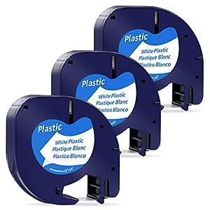 MarkField Cintas de Plástico Etiquetas Compatible para usar en lugar de Dymo Letratag Plastic 91201 S0721610 Recambios para LT-100H LT-100T LT-110T QX50 XR XM 2000, Negro sobre Blanco, 12mm x 4m