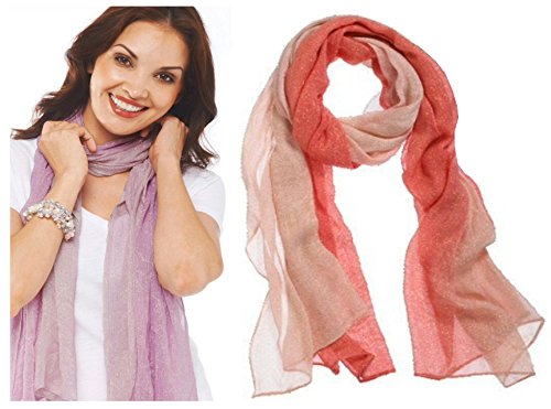 Style 101 Peach Colored Sparkling Shawl - By Ganz