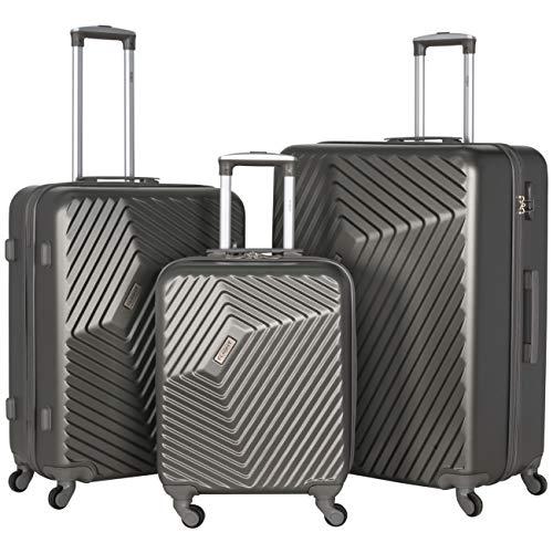 Flight Knight Lightweight 4 Wheel ABS Hard Case Suitcases Maximum For Lufthansa - Cabin + Medium + Large Charcoal FK03_CHAR_3SET