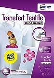 AVERY - Pochette de 24 Papiers Transferts Tee-Shirt ou Textiles Blancs ou Clairs, Personnalisables et Imprimables, Format A4, Impression Jet d'Encre