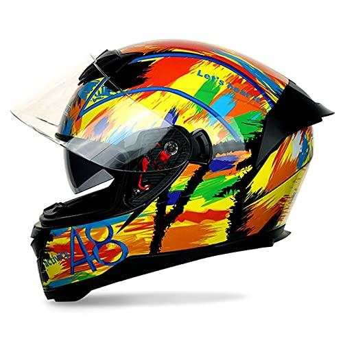 フルフェイスヘルメット バイクヘルメット オートバイヘルメット メンズ レディース ダブルシールド モトクロス 男女兼用 超軽量 耐衝撃 Bluetooth対応/ブルートゥースイヤホンインストール可能 グレア防止/紫外線防止/UVカット 通気性 吸汗抑菌防臭 DOT規格 CHAOYOU (A8, XXL)