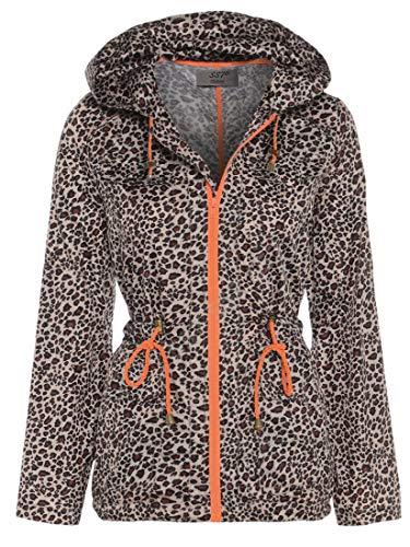 SS7 - Damen Wasserfester Parka Schwalbenschwanz Regenmantel Regenjacke - Leopard, EU 40