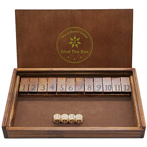Juegoal Shut The Box Wooden Board Dice Game with 12 Numbers and Lid for Kids Adults Families, 2...