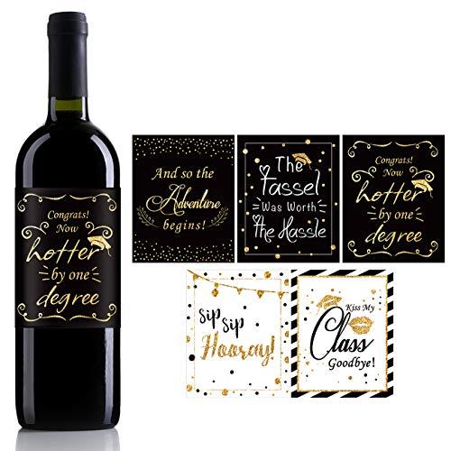 Lustige Weinetiketten-Aufkleber, süßes Abschlussgeschenk, Abschlussfeier, für Hochschulabsolventen, Hochschulabschluss, 5 Stück