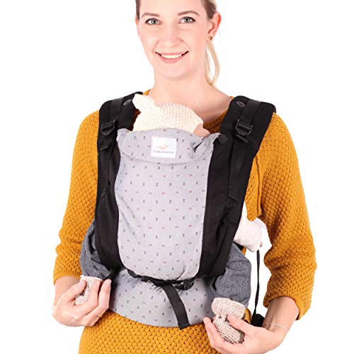 SCHMUSEWOLKE Family FullBuckle Babytrage Grey Neugeborene und Kleinkinder Baumwolle Babysize 0-12 Monate 3-12 kg Bauch-und Rückentrage