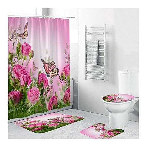TOKYMOON Duschvorhang Blumen mit 12 Ringe Set duschvorhang Wasserdicht Schimmel Resistent Antibakterielles Badezimmer Gardinen Badezimmer Set Teppich Duschvorhang Gesetzt Polyester