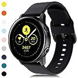 Onedream Bracelet Compatible avec Samsung Galaxy Watch Active/Active 2(44mm/40mm), Bracelet de Sport en Silicone Compatible avec Samsung Galaxy Watch 42mm pour Femme/Homme, Noir(Pas de Montre)