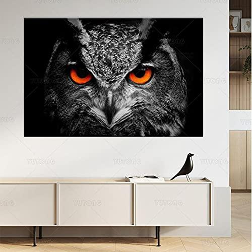 SHKJ Biuteawal Animal Wall Art Black White Owl con Ojos Rojos Póster con Imagen Decoración Obra de Arte para el hogar 50x70cm / 19.7'x27.6 Sin Marco