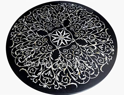 Mesa redonda de mármol para pasillo con diseño floral con incrustaciones de arte hermosa mesa de comedor para el hogar de 36 pulgadas