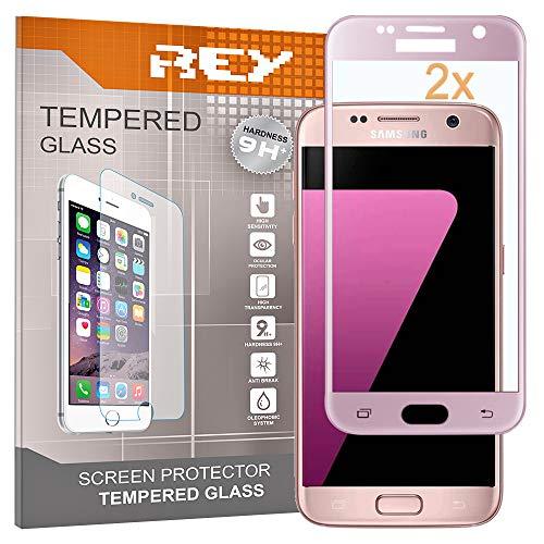 2X Protector de Pantalla 3D para Samsung Galaxy S7 Edge, Rosa, Protección Completa, 3D / 4D / 5D