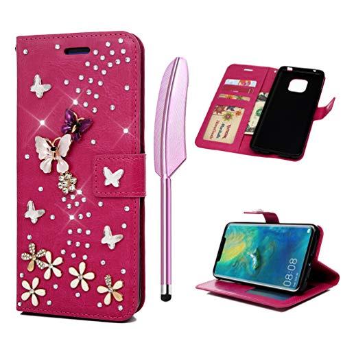 Coque pour Huawei Mate 20, Etui Bling PU+TPU Papillon Fleur Diamant Elégant Cuir Silicone Support Carte Portefeuille Fente Magnétique Housse - Rose